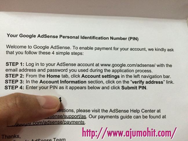 No pin Google Adsense sudah diterima