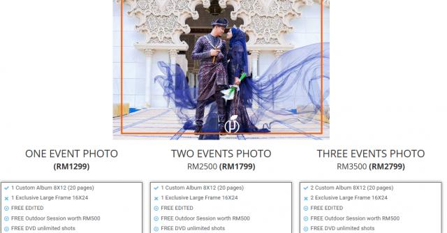 harga terkini pakej fotografi perkahwinan