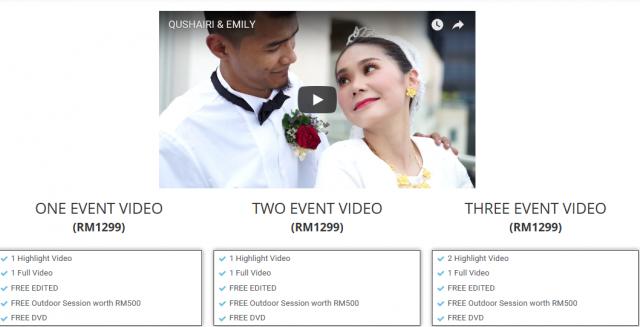 pakej harga terkini fotografi perkahwinan