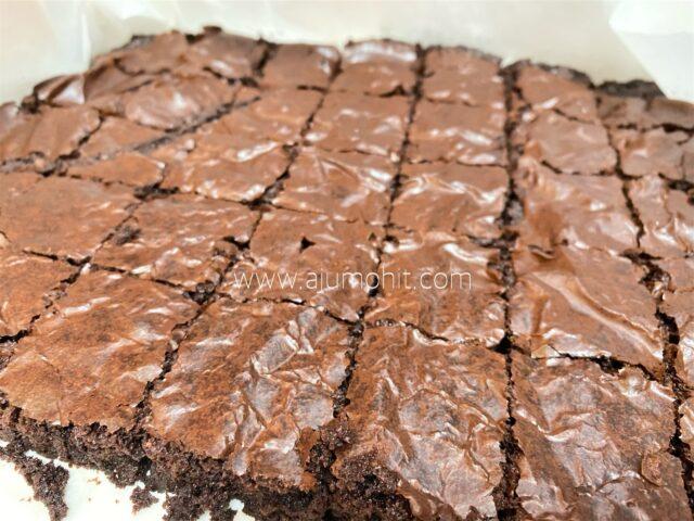 tips buat brownies kedut sukatan cawan